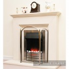 """Hanbury"" Three Fold Black & Brushed Steel Fire Guard  in Situ Next to a White Fireplace"