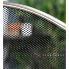 Close-up of the Brushed Steel Frame and the Black Mesh on the Three Fold Fire Guard