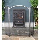Three Fold Fire Guard Finished in a Brushed Steel