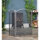 Three Fold Fire Guard Finished with a Brushed Steel Frame and Black Mesh