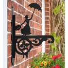 Ornate Mary Poppins Hanging Basket Bracket in Situ on the Side of a House