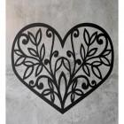 Flower Foliage Heart Wall Art on a Rustic Wall