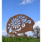 Rustic Floral Hedgehog Silhouette