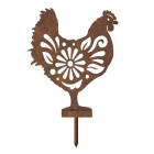 Rustic Floral Hen Silhouette with Spike