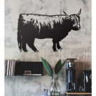 Highland Cow Steel Wall Art in a Modern Home