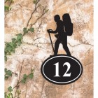 Hiking Iron House Number Sign in Situ a Rustic Wall