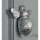 Side View of the Bright Chrome Bee Door Knocker