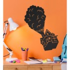 Floating House on Balloons Steel Wall Art in Situ on an Orange Wall