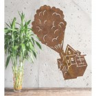Floating House on Balloons Steel Wall Art in Situ in the Home