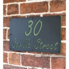 "Pale Green ""Saville"" House Sign in Situ on the Wall"