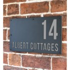 """Light Grey """"Albert"""" House Sign in Situ on the Wall"""