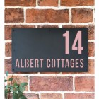 "Light Pink ""Albert"" House Sign in Situ on the Wall"