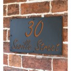 """""""Saville"""" House Sign Finished in a Orange Brown"""