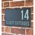 """""""Albert"""" House Sign Finished in Pastel Turquoise"""