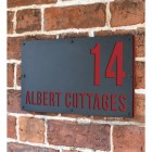 """""""Albert"""" House Sign Finished in signal Red"""