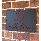 """Signal Red """"Saville"""" House Sign in Situ on the Wall"""
