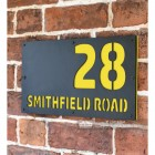 """Zinc Yellow """"Smithfield"""" House Sign in Situ on the Wall"""