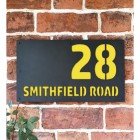 """""""Smithfield"""" House Sign Finished in a Zinc Yellow"""