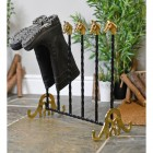 Wrought iron hand crafted welly rack with brass finials