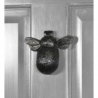 Iron Bumblebee Door Knocker  in Situ on a Grey Door