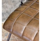 close-up of the Dark Olive Green Buffalo Leather on the Seat of the Chair