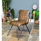 Iron & Dark Olive Green Buffalo Leather Chair in Situ in the Living room