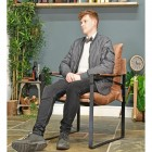 Iron & Natural Brown Buffalo Leather Relax Chair to Scale