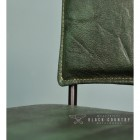 Close-up of the Olive Green Buffalo Leather on the Chair