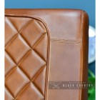 Close-up of the Tan Buffalo Leather Back on the Chair