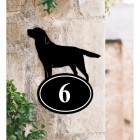Bespoke Labrador Iron House Number Sign in Situ