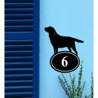 Labrador Iron House Number Sign on a Blue Wall