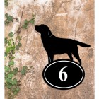 Labrador Iron House Number Sign in Situ on a Rustic Wall
