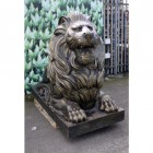 Large Antique Bronze Lion Sculpture