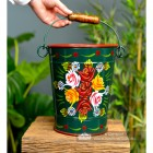 Large Green Narrowboat Hand Painted Bucket to Scale