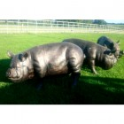 Large Bronzed Metal Pig Sculpture