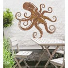 Octopus Rustic Wall Art in the Garden Above a Wooden Table & Chair Set