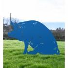 Blue Finish Sitting Pig Silhouette