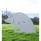 Silver Finish Sitting Pig Metal Silhouette