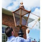 Copper Victorian lantern with hinged door