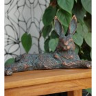 Laying Hare Sculpture Finished in an Antique Bronze Finish