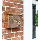 Antique Copper and Bass Celtic Design Post Box in Situ on a Wall