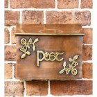 "Front of the ""Drustan"" Copper and Brass Celtic Design Post Box"