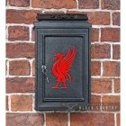 "Front View of the Red ""Liver Bird"" Wall Mounted Post Box Finished in Black"