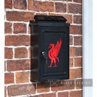 """Liver Bird"" Wall Mounted Post Box in Situ on a Brick Wall"