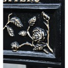 Close up of floral and rose detailing on 'Balmoral Rosette' Post Box