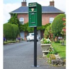 Irish Harp Post and Parcel Box Finished in Green standing on a Black Column