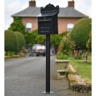 """Twilight Shadows"" Black Goldhay Post Box On Stand"