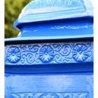 Close up of flower motif on 'Coastal Surf' Camden Post Box