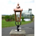 Copper Victorian Pillar Light and Lantern Set in Situ on a Brick Wall