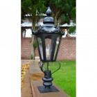 Hexagonal Pillar Light and Lantern - Black